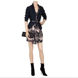 TIBI Filigree Dress Print Black Silk Draped 0